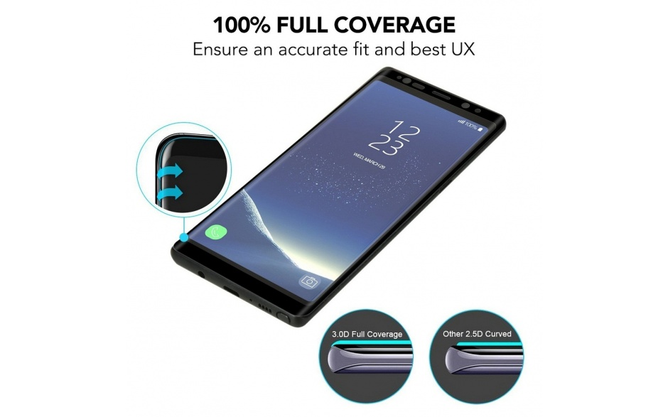 9H Case Friendly Full Coverage Tempered Glass Screen Protector for Samsung Galaxy S9