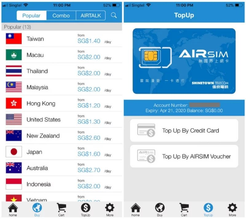 Airsim data travel prepaid card