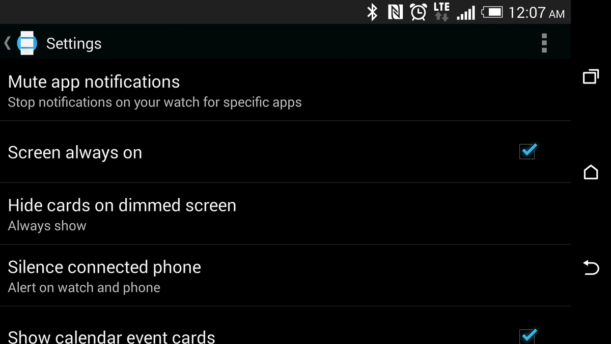 Android Wear Screen Always On Settings