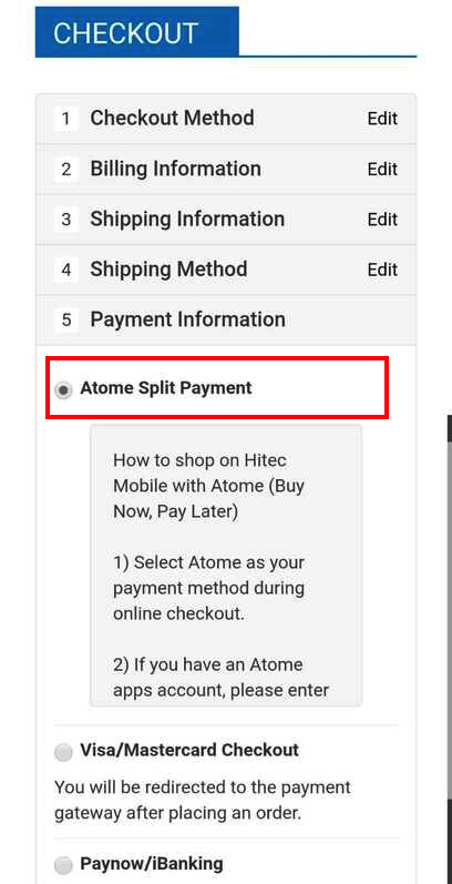 how to use atome installment payment